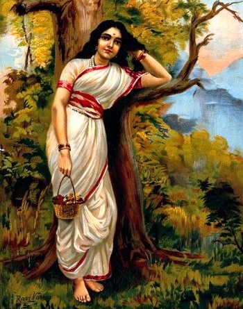 V0045105 Ahalya leaning on tree. Chromolithograph by R. Varma.