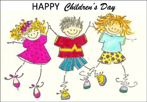 Happy-Childrens-Day-Dancing-Kids-Drawing